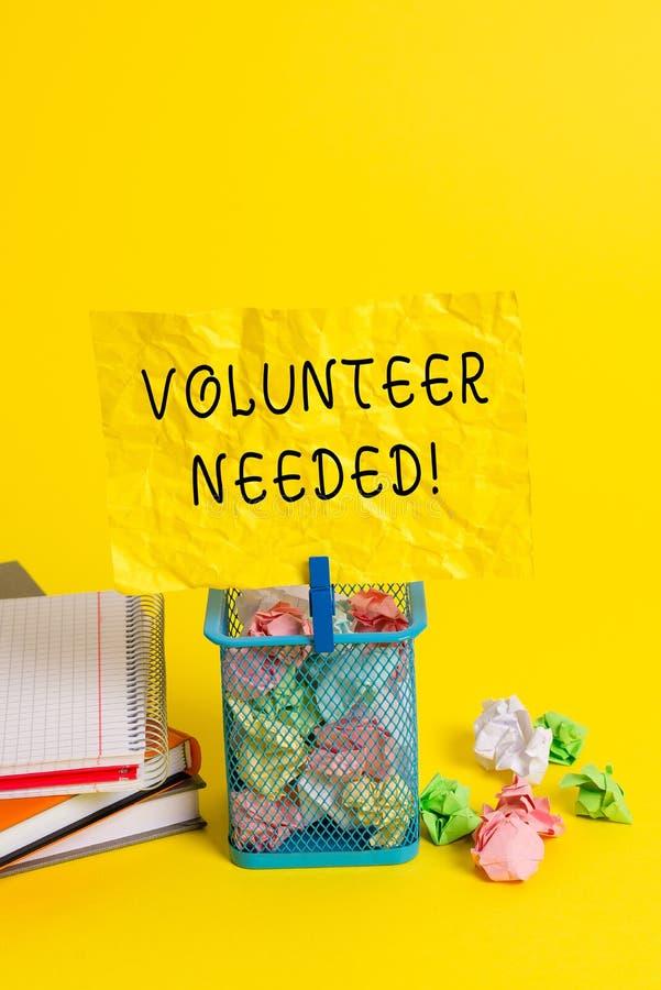 Begriffshandschriftvertretung Freiwilliger brauchte Pr?sentationsbedarfsarbeit des Gesch?ftsfotos f?r Organisation ohne zu sein stockbilder