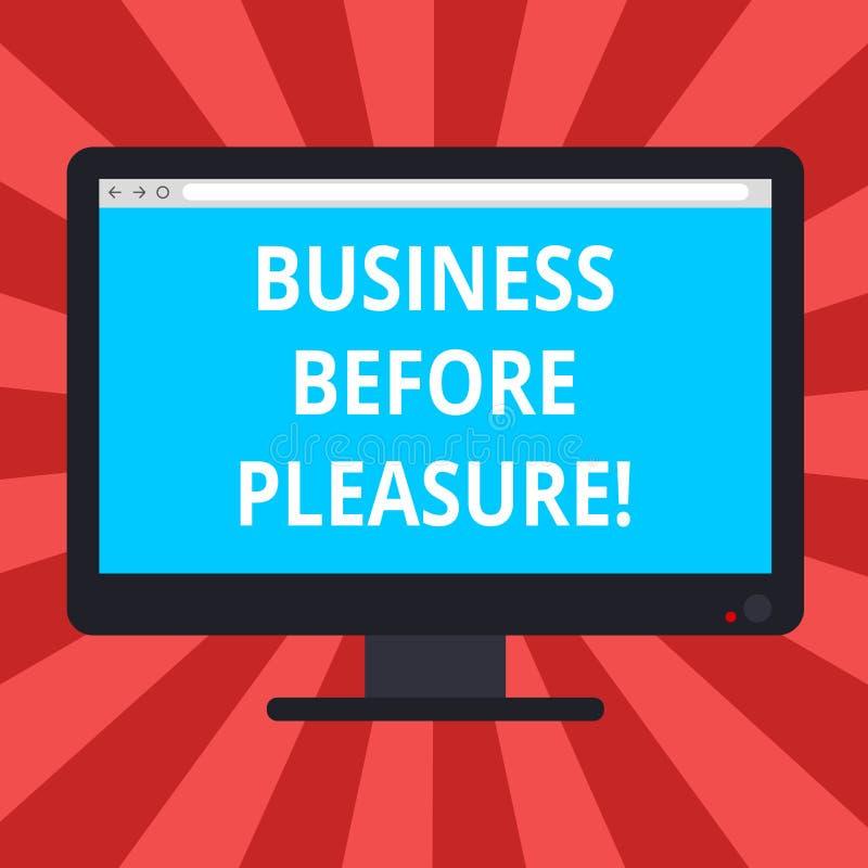 Begriffshandschriftvertretung Geschäft vor Vergnügen Geschäftsfoto-Textarbeit ist wichtiger als Unterhaltung freier Raum vektor abbildung
