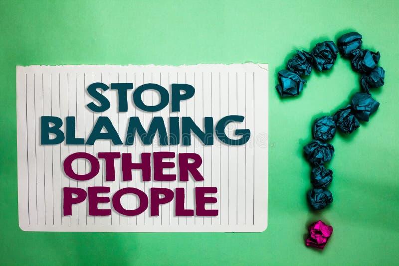 Begriffshandschriftvertretung Halt, der andere Leute tadelt Geschäftsfototext lassen Entschuldigungen Ihr Störungsschuldweiß nich stockbild