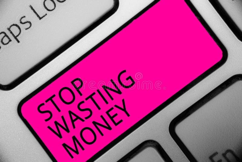 Begriffshandschriftvertretung Halt, der Geld vergeudet Geschäftsfoto lässt Präsentationsorganisierender Management-Zeitplan tun e stock abbildung