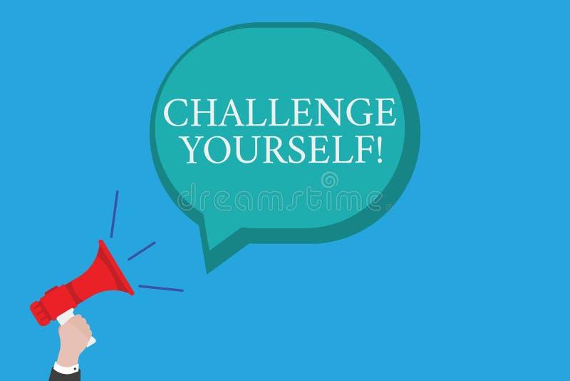Begriffshandschriftvertretung Herausforderung sich Der Geschäftsfototext, der höhere Standards einstellt, streben das unmögliche  stock abbildung