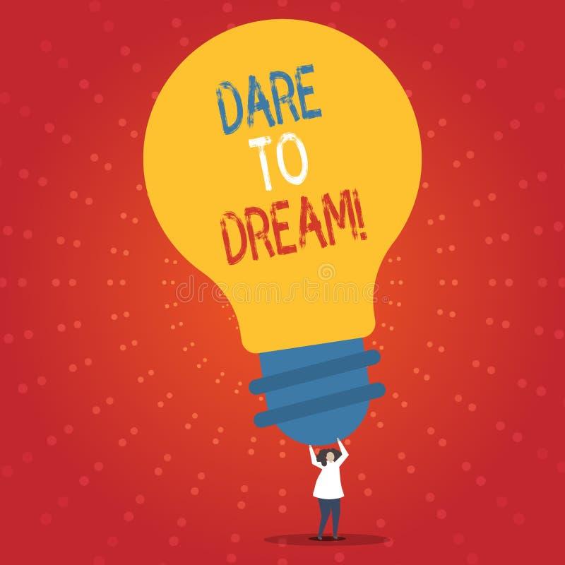 Begriffshandschriftvertretung Herausforderung zu träumen Die Geschäftsfotopräsentation haben nicht vor haben große Ehrgeizziele A lizenzfreie abbildung