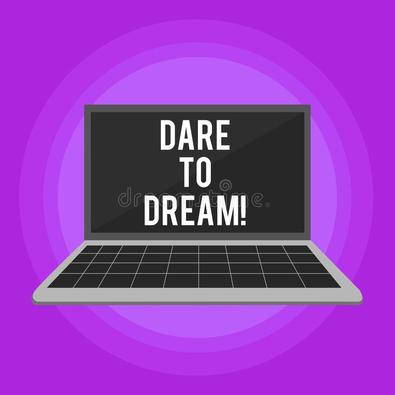 Begriffshandschriftvertretung Herausforderung zu träumen Geschäftsfototext haben nicht vor haben große Ehrgeizziele Angst lizenzfreie abbildung