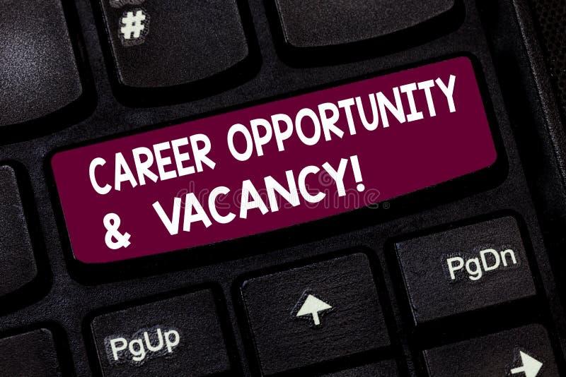 Begriffshandschriftvertretung Karriere-Gelegenheit und freie Stelle Geschäftsfoto-Text Job, der Huanalysis-Betriebsmittel sucht lizenzfreie stockbilder