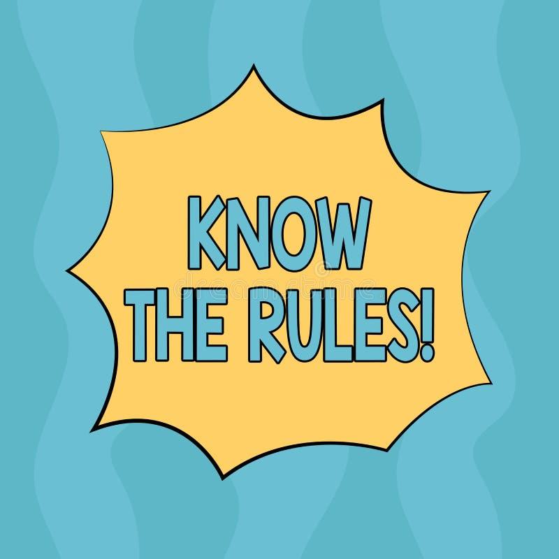 Begriffshandschriftvertretung kennen die Regeln Geschäftsfototext berücksichtigt die Gesetzesregelungs-Protokoll-Verfahren  lizenzfreie abbildung