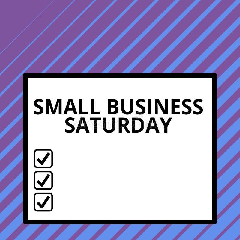 Begriffshandschriftvertretung Kleinbetrieb Samstag Amerikanischer Einkaufsfeiertag des Geschäftsfoto-Textes gehalten während lizenzfreie abbildung