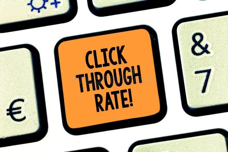 Begriffshandschriftvertretung Klicken durch Rate Geschäftsfototextanteil der Besucher, denen Verbindung zu folgen Sie lizenzfreies stockbild