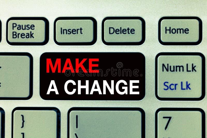 Begriffshandschriftvertretung nehmen eine Änderung vor Geschäftsfototext schaffen eine Unterschied-Änderung lassen einen Effekt u stockbild