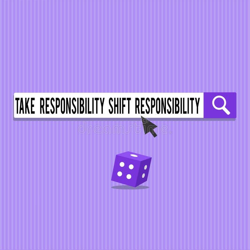 Begriffshandschriftvertretung nehmen Verantwortungs-Schiebeverantwortung Die Geschäftsfotopräsentation wird nehmen gereift lizenzfreie abbildung