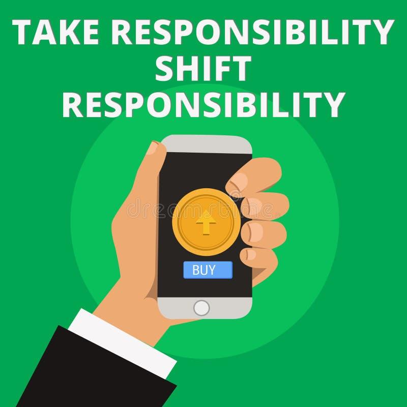 Begriffshandschriftvertretung nehmen Verantwortungs-Schiebeverantwortung Geschäftsfototext wird nehmen gereift lizenzfreie abbildung