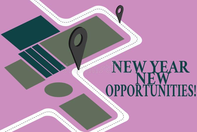 Begriffshandschriftvertretung neues Jahr-neue Gelegenheiten Geschäftsfoto Präsentationsneustart-Motivationsinspiration stock abbildung