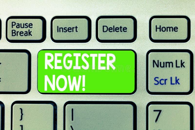 Begriffshandschriftvertretung Register jetzt Geschäftsfototext, zum von Informationen besonders Ihr Name in zu setzen lizenzfreie stockfotografie