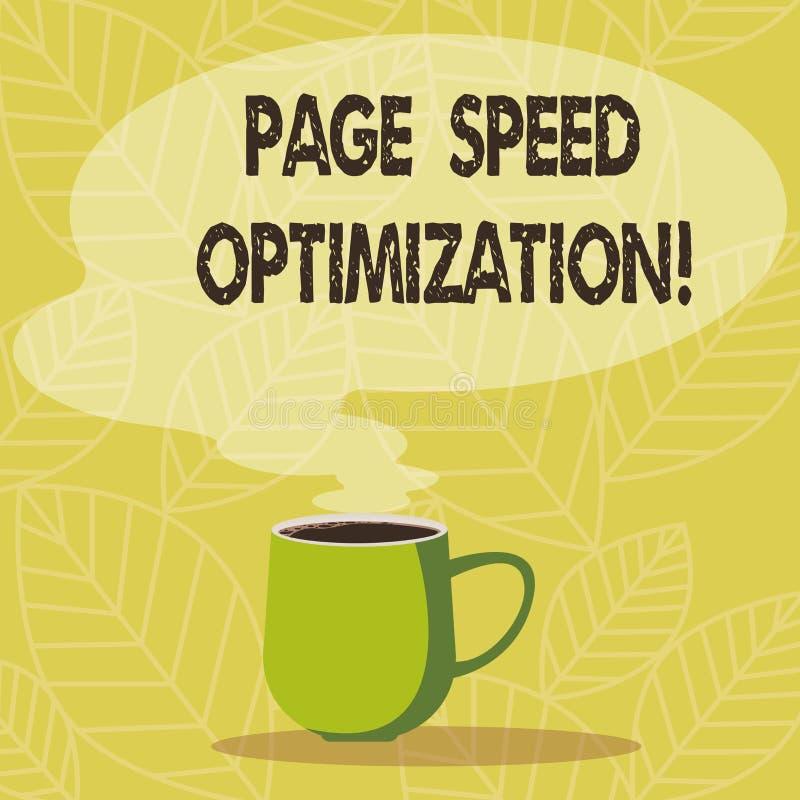 Begriffshandschriftvertretung Seiten-Geschwindigkeits-Optimierung Die Geschäftsfotopräsentation verbessern die Geschwindigkeit de stock abbildung