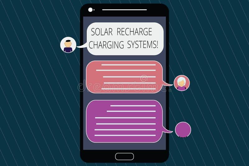 Begriffshandschriftvertretung Solarnachladen-Aufladungs-Systeme Geschäftsfoto, das neue innovative Alternative zur Schau stellt stock abbildung