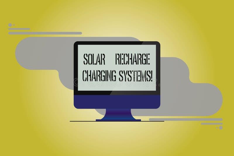Begriffshandschriftvertretung Solarnachladen-Aufladungs-Systeme Geschäftsfoto, das neue innovative Alternative zur Schau stellt vektor abbildung