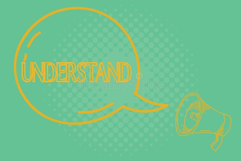 Begriffshandschriftvertretung verstehen Die Geschäftsfotopräsentation empfinden die beabsichtigte Bedeutung von etwas vektor abbildung