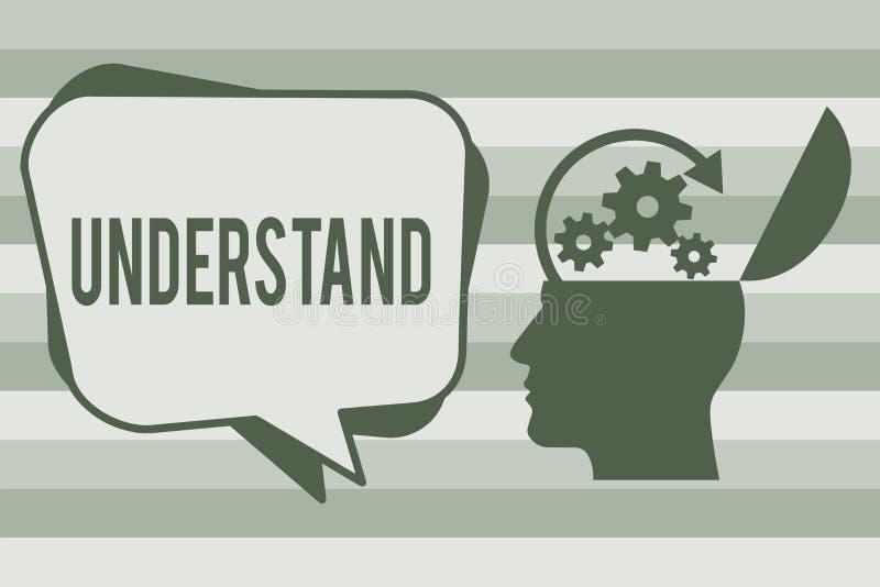 Begriffshandschriftvertretung verstehen Geschäftsfototext empfinden die beabsichtigte Bedeutung von etwas interpretieren stock abbildung