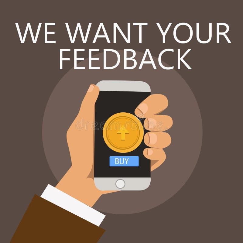 Begriffshandschriftvertretung wünschen wir Ihr Feedback Geschäftsfoto, das zur Schau stellt, um Leistung oder Produkt zu verbesse lizenzfreie abbildung