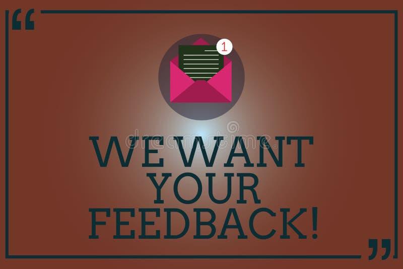 Begriffshandschriftvertretung wünschen wir Ihr Feedback Geschäftsfoto, das zur Schau stellt, um Perforanalysisce oder Produkt zu  stock abbildung