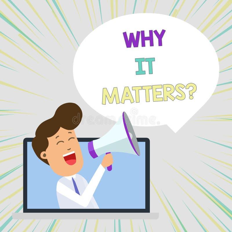 Begriffshandschriftvertretung, warum sie Frage von Bedeutung ist Gesch?ftsfototext bitten das Demonstrieren nach etwas, das er de vektor abbildung