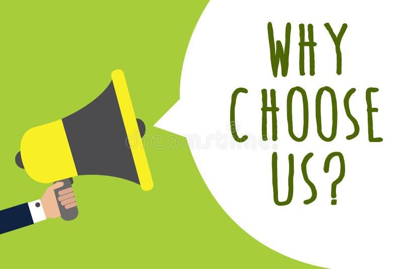 Begriffshandschriftvertretung, warum uns Frage wählen Sie Geschäftsfoto Präsentationsgründe für das Wählen unserer Marke über and lizenzfreie abbildung