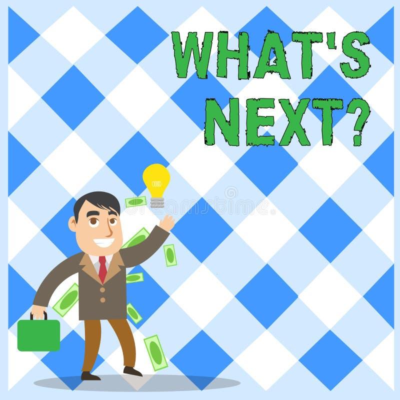 Begriffshandschriftvertretung welche folgende Frage s Gesch?ftsfototext, der das Demonstrieren nach seinen kommenden Aktionen bit lizenzfreie abbildung