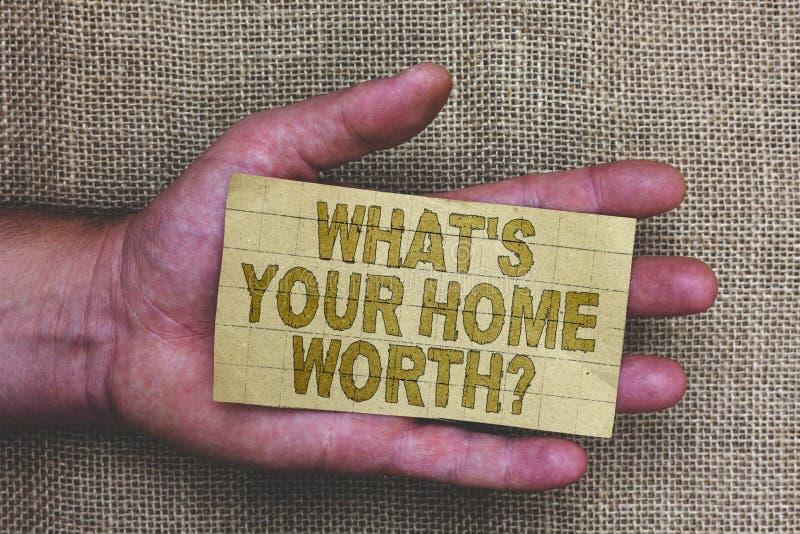Begriffshandschriftvertretung, welches s wert Frage Ihr Haupt ist Geschäftsfoto Präsentationswert eines Grundbesitz-Selbstkostenp lizenzfreie stockbilder
