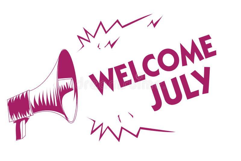 Begriffshandschriftvertretung Willkommen Juli Geschäftsfoto Präsentationsneue Jahreszeit Pur des dritten Trimesters des kalender- stock abbildung