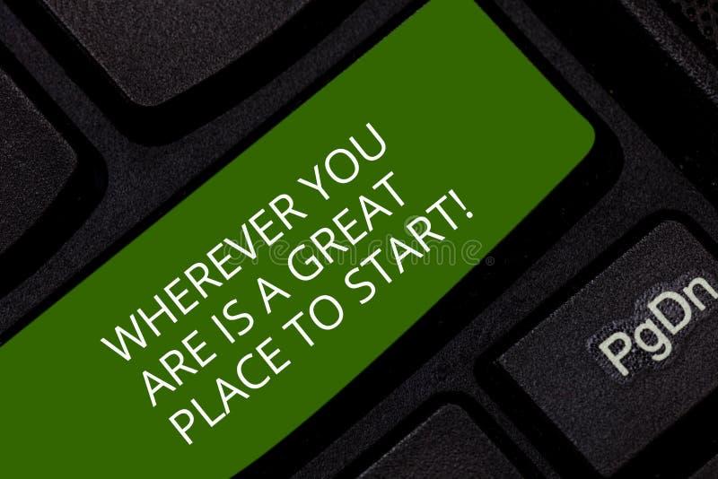 Begriffshandschriftvertretung, wohin Sie sind, ist Great Place, zu beginnen Geschäftsfoto Präsentationsheute nicht morgen beginne stockfotos