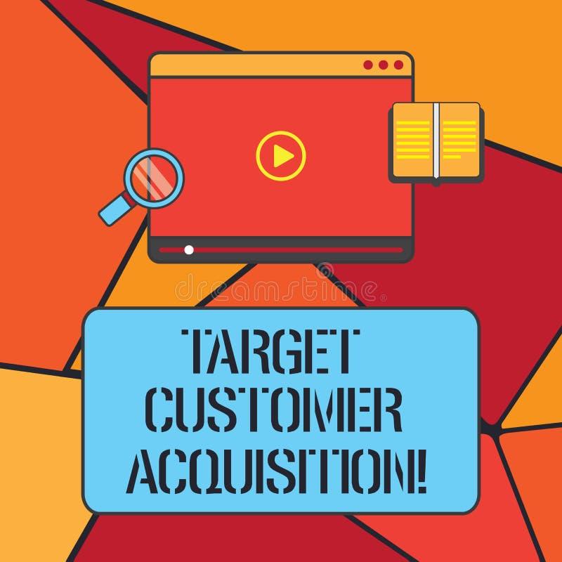 Begriffshandschriftvertretung Ziel-Kunden-Erwerb Das Geschäftsfoto, das zur Schau stellt, einen Verbraucher überzeugend, eine Fir vektor abbildung