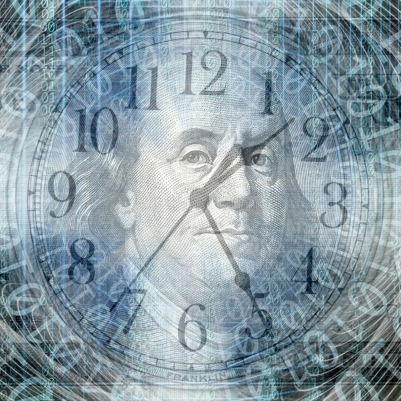 Begriffshintergrund des binär Code mit Zeit und Geld c lizenzfreies stockbild