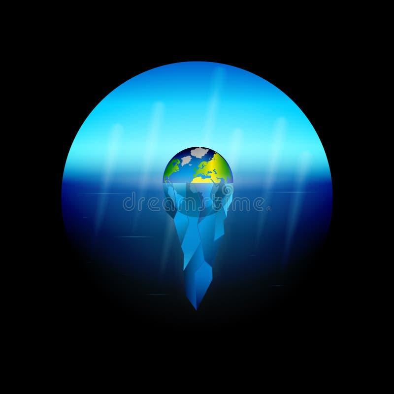 Begriffsillustration auf dem Thema der globalen Erw?rmung auf Planet Erde das Schmelzen von Gletschern als Umweltkatastrophe sink lizenzfreie abbildung