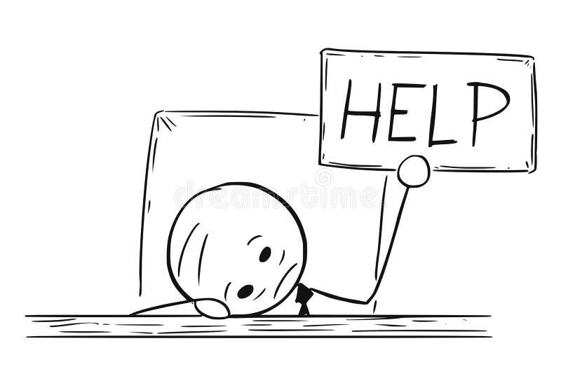 Begriffskarikatur des deprimierten Geschäftsmannes With Help Sign vektor abbildung