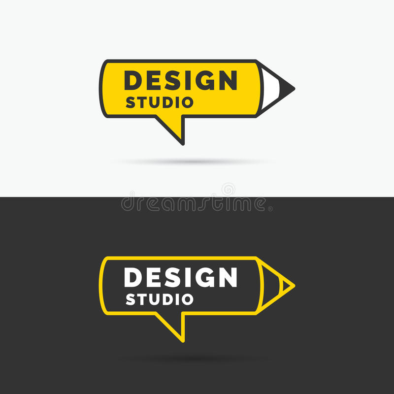 Begriffslogo und Aufkleber Designstudio Entwerfer Evgeniy Kotelevskiy vektor abbildung