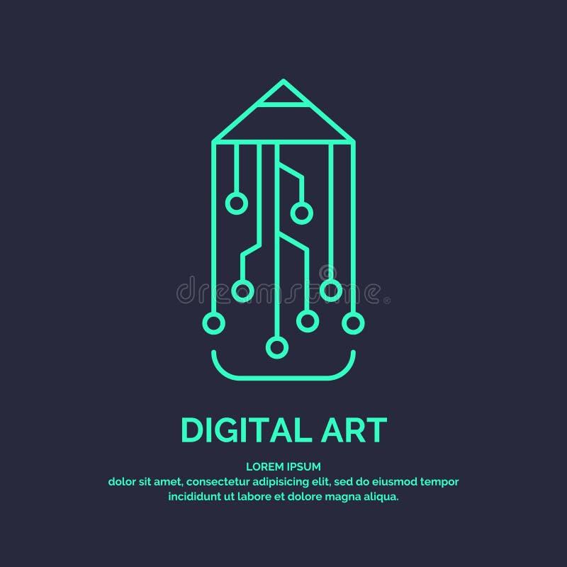 Begriffslogo und Aufkleber Digital-Kunst stock abbildung