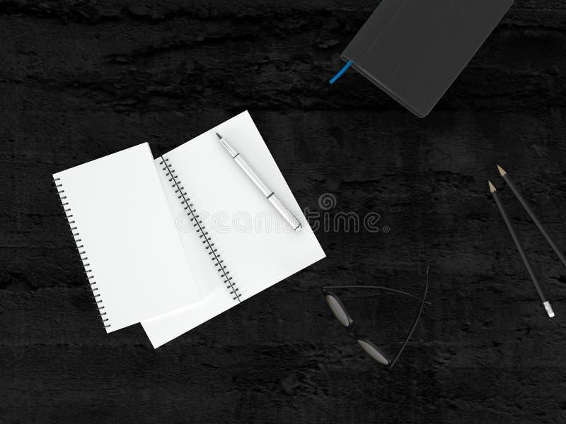 Begriffsschreibmaterialien mit Gläsern auf Tabelle lizenzfreie abbildung
