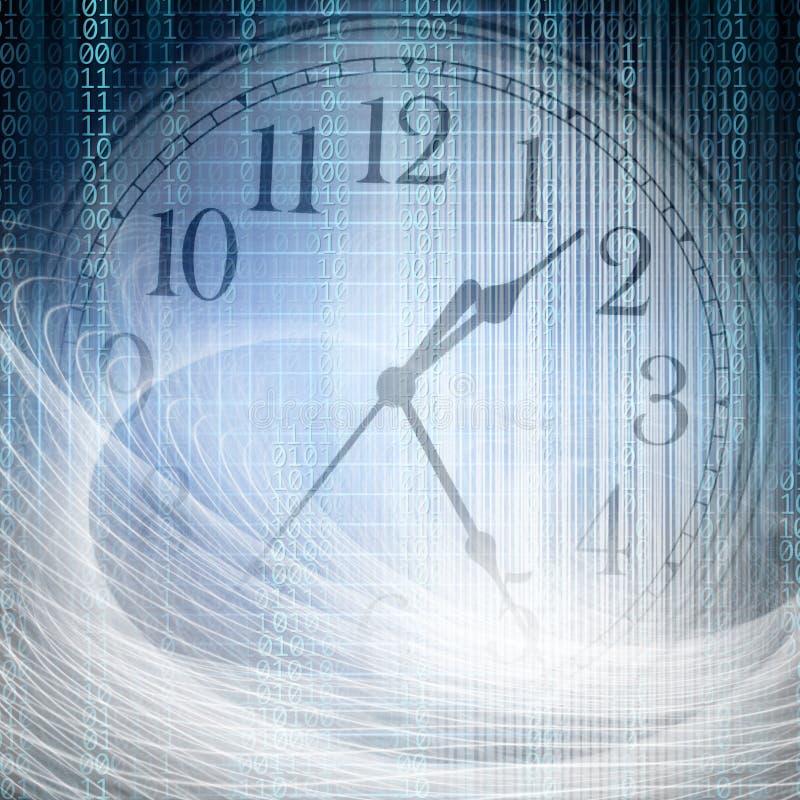 Begriffstechnologie- und Zeitbild des binär Code mit Uhr a lizenzfreies stockfoto