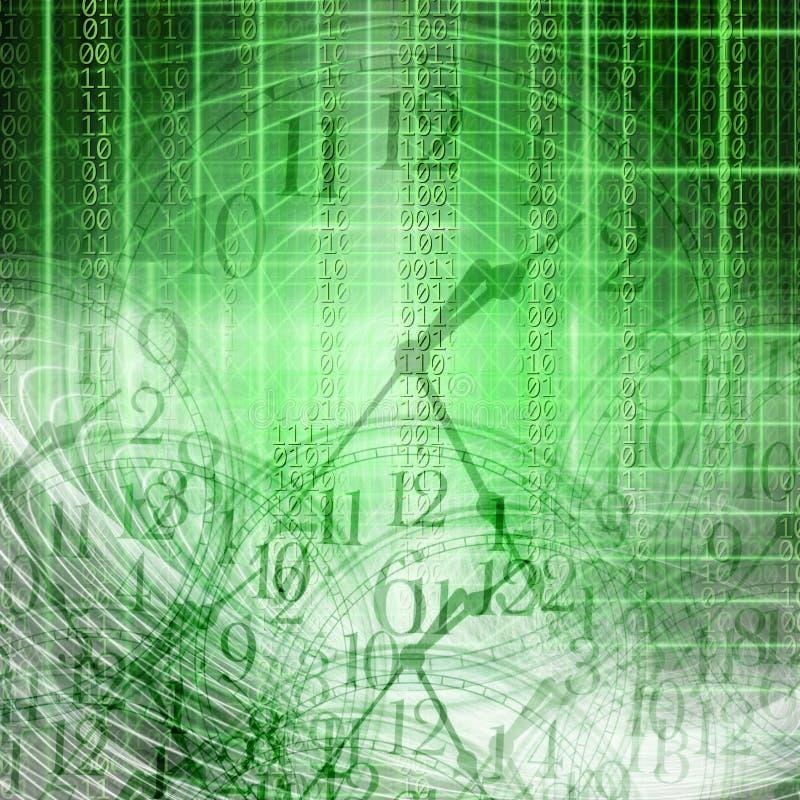 Begriffstechnologie- und Zeitbild des binär Code mit Uhr a stockfotos