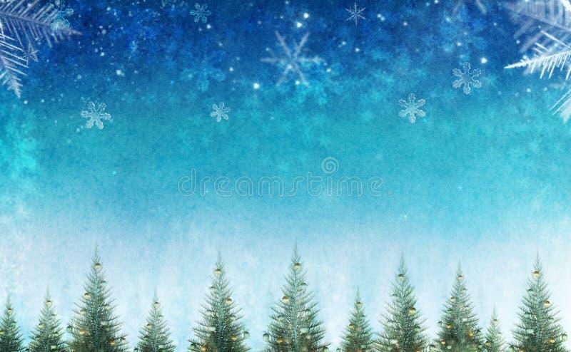 Begriffsweihnachtswinterszene mit dekorativen Kiefern gegen Sternhimmel lizenzfreie stockfotos