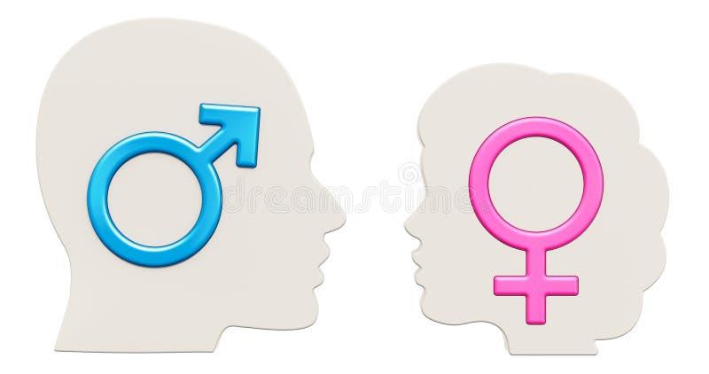 Begrip en verband tussen man en vrouwenconcept 3 royalty-vrije illustratie