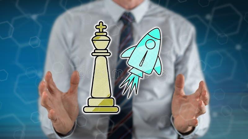 Begrip het winnen bedrijfsstrategie stock foto's