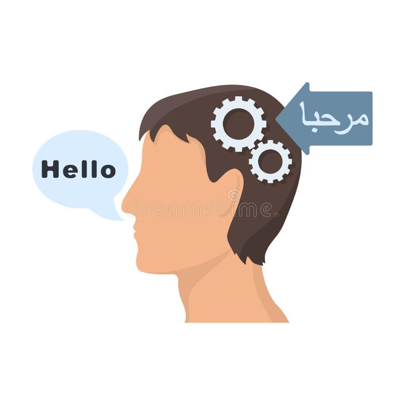 Begrip van vreemde taalpictogram in beeldverhaalstijl op witte achtergrond wordt geïsoleerd die Tolk en vertalerssymbool royalty-vrije illustratie