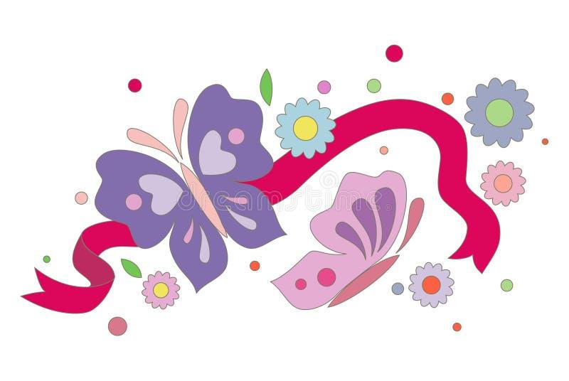 Begroetende bloemenkaart stock illustratie