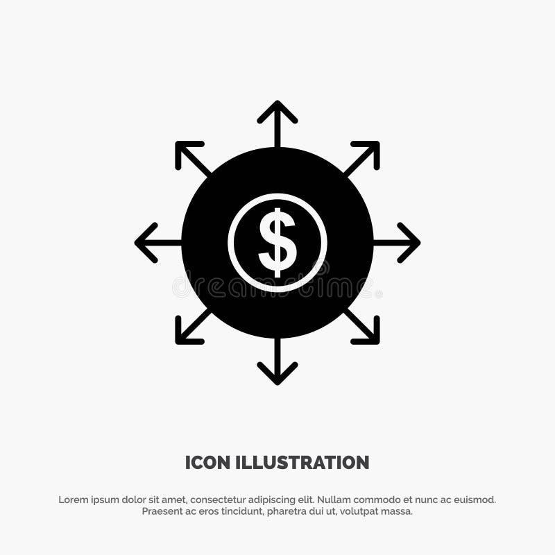 Begroting, Bankwezen, Lijst, het Pictogramvector van Contant geld stevige Glyph royalty-vrije illustratie