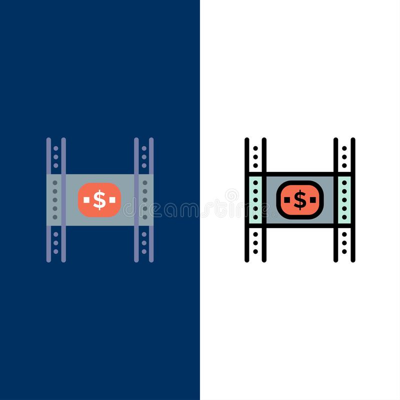 Begroting, Kosten, Film, Geld, Filmpictogrammen Vlak en Lijn vulde Pictogram Vastgestelde Vector Blauwe Achtergrond stock illustratie