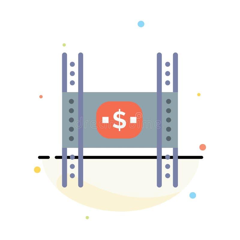Begroting, Kosten, Film, Geld, het Pictogrammalplaatje van de Film Abstract Vlak Kleur stock illustratie