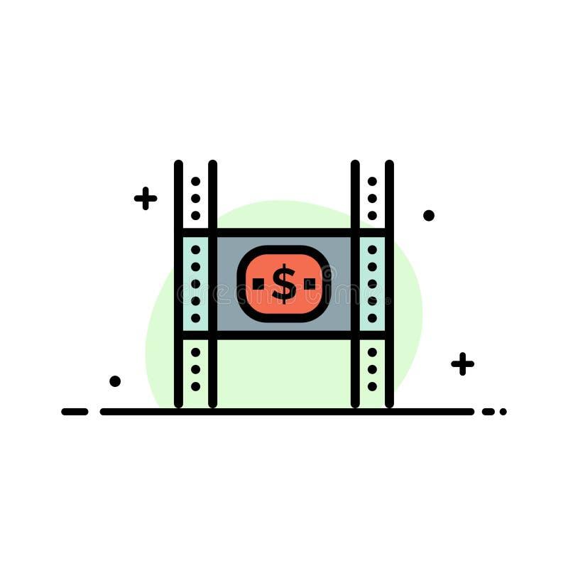Begroting, Kosten, Film, Geld, Malplaatje Film van de Bedrijfs het Vlakke Lijn Gevulde Pictogram Vectorbanner vector illustratie