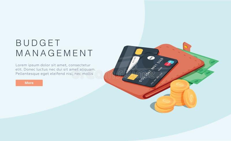 Begrotingsbeheerconcept in isometrische vectorillustratie De achtergrond van de geldeconomie met zakportefeuillewinst of opbrengs royalty-vrije illustratie