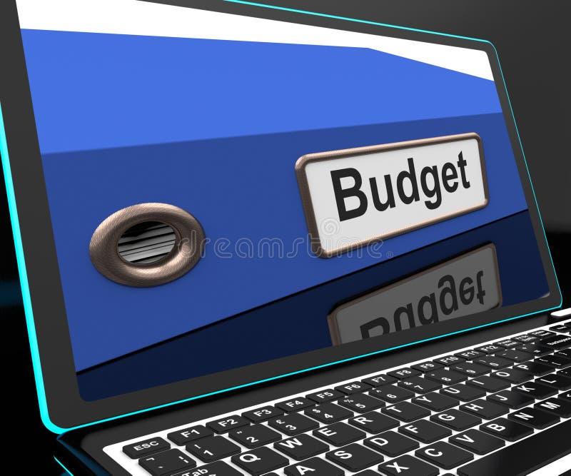 Begrotingsdossier op Laptop die Financieel verslag tonen vector illustratie