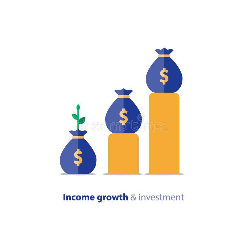 Begrotingsfonds planning, de bedrijfsgroei, inkomensgrafiek, opbrengstgrafiek, vectorillustratie vector illustratie